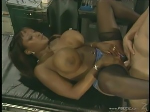 Ebony with big tits,gives blowjob and rimmed in public interracial action