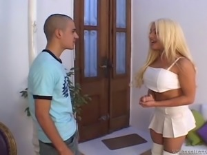 Handsome stud gets his anal drilled by blonde shemale