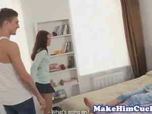 Cuckolding gf punishes cheating boyfriend