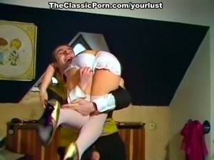 Kinky classic brunette in white stuff gets banged missionary style
