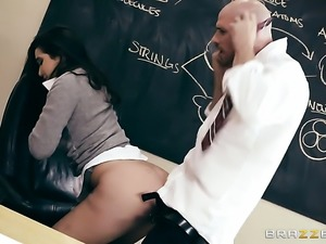 Brunette with giant knockers groans in fucking