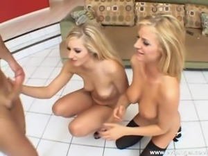 Lustful blonde babes in sexy stocking stimulate their pussies before getting...