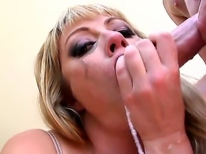Amazing facial cumshot after hardcore deep blowjob by adorable blonde slut...