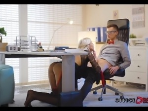 Blonde MILF Fucks with her Younger Boss for Promotion