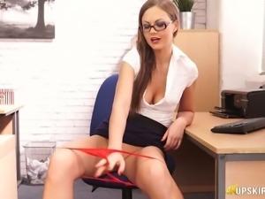 Seductive secretary Tina Kay flashing pinkish pussy upskirt
