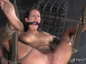 Redhead with juicy little boobies gagged and tortured in a rough way