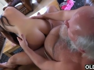 Sexy young girl fucked by fat old man gets cum in mouth and swallows