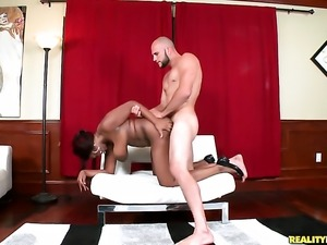 Cocoa with huge breasts and shaved snatch and hard cocked dude satisfy their...