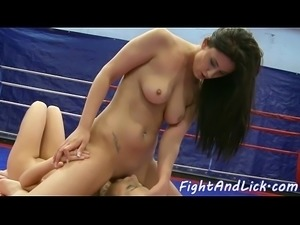Pussylicking euro babe wrestles dyke beauty