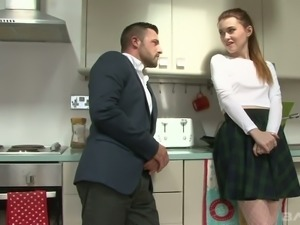 Slender and beautiful white chick in the kitchen eats dick and fucked
