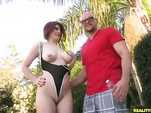 Redhead with giant knockers and clean snatch sucks like a