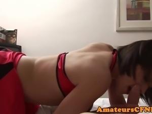 Kinky CFNM girlfriend cocksucks in lingerie