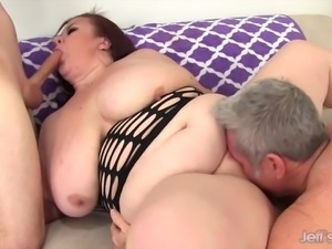 Huge boobs chunky mom double vaginal