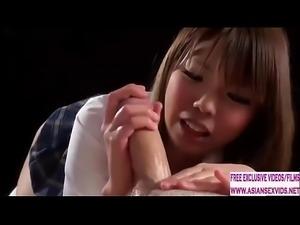 18 Year old Japanese schoolgirl gives a tender handjob