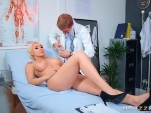 busty christina sucks her doctor's massive cock