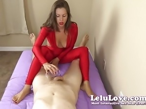 Clothed female gives you handjob and footjob until you cum