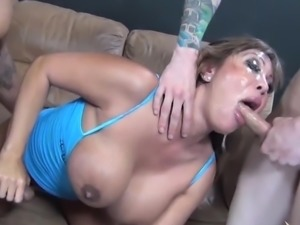 Ava Devine copping with face fucking then getting facial cumshot