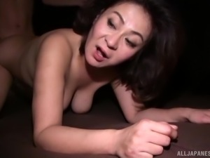 Cock-sucking Japanese slut pleasing her man orally looking hot