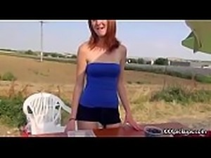 Cutie amateur european slut seduces tourist dor a street blowjob 24