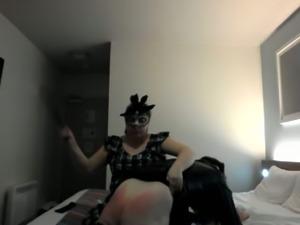 Perverted chubby bitch slaps her crossdresser hubby's butt hard