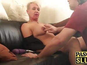 Slutty old hag gets double penetrated and slapped around