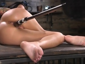 Gorgeous brunette pornstar with a perfect body enjoys being brutally fucked...