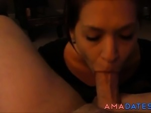 homemade girlfriend blowjob and big cumshot swallow