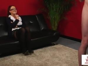 redhead british voyeur instructing sub to tug