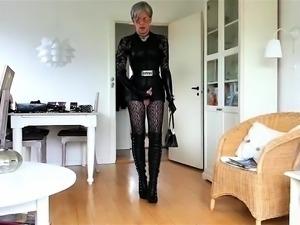 Slender crossdresser sensually masturbates for the camera