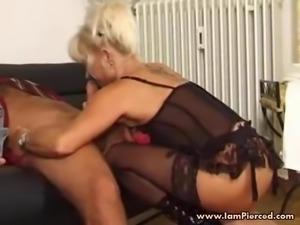I am Pierced MILF with pussy piercings in black stockings