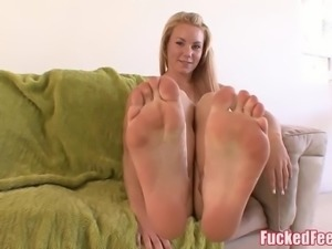 Cute Teen Gives First Footjob and Make Him Cum Hard! FuckedF