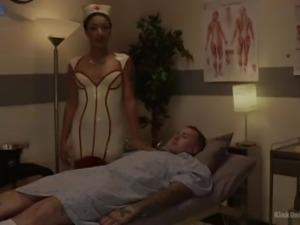 Busty black nurse Daisy Ducati checks dude's prostate and wanks his dick