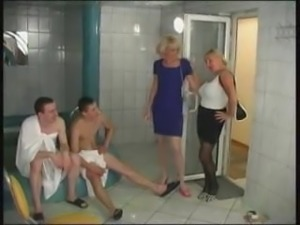 matures and boys in sauna