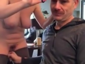 Short hair  sexy mature barber