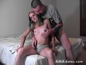 Shy blonde gives handjob