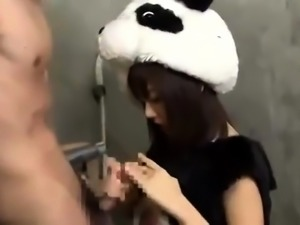 Naughty Oriental teen in a funny costume fucks a stiff rod