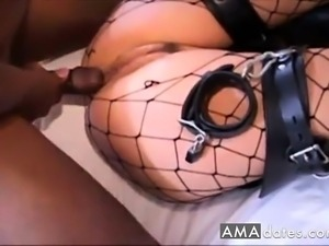 wife in lingerie gets pounded on bed while hubby watches