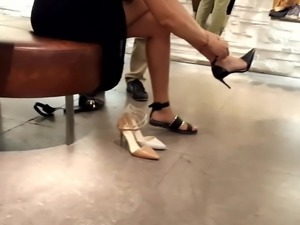 her sexy shoe shopping w her sexy legs feets