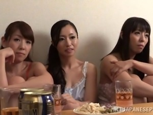 Asian bitches in foursome getting fucked and creamed in the orgy