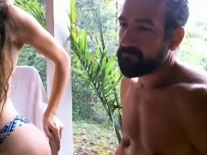Brunette amateur fucks penis outdoor