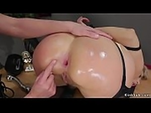 Blonde takes enema and anal dildos