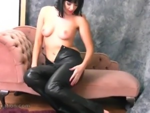 Naked babe loves tight leather