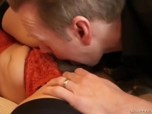 Fantastic bosomy sexpot Raylene gets meaty pussy drilled missionary