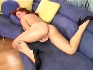 Redhead slut with big boobs serving POV