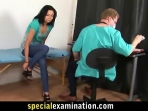 Hot brunette babe examined by doctor