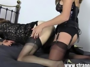 FemDom Strapon Jane fucks crossdresser sluts tight ass from behind