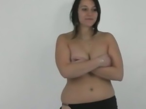 Brunette Czech busty on her first casting scene.