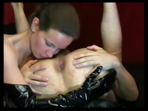 Dominant woman rimming and fingering guy