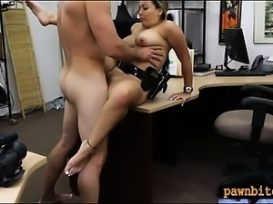 Huge boobs police officer pounded by pawn keeper for money